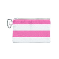 Horizontal Pink White Stripe Pattern Striped Canvas Cosmetic Bag (small) by yoursparklingshop
