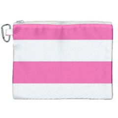 Horizontal Pink White Stripe Pattern Striped Canvas Cosmetic Bag (xxl) by yoursparklingshop