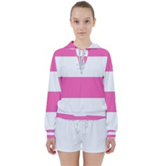Horizontal Pink White Stripe Pattern Striped Women s Tie Up Sweat by yoursparklingshop