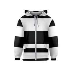 Black And White Striped Pattern Stripes Horizontal Kids  Zipper Hoodie by yoursparklingshop