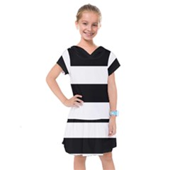 Black And White Striped Pattern Stripes Horizontal Kids  Drop Waist Dress