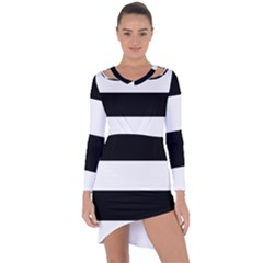 Black And White Striped Pattern Stripes Horizontal Asymmetric Cut Out Shift Dress