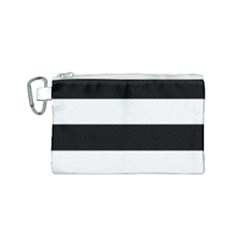 Black And White Striped Pattern Stripes Horizontal Canvas Cosmetic Bag (small) by yoursparklingshop
