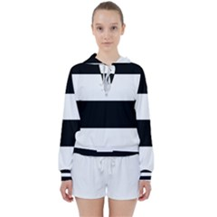 Black And White Striped Pattern Stripes Horizontal Women s Tie Up Sweat by yoursparklingshop