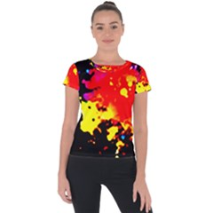 Colorfulpaintsptter Short Sleeve Sports Top