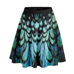Blue And Green Feather Collier High Waist Skirt by cglightNingART