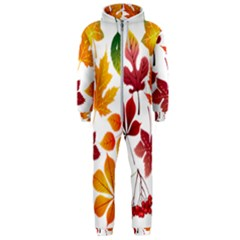 Beautiful Autumn Leaves Vector Hooded Jumpsuit (men)