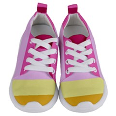 Red Orange Yellow Pink Sunny Color Combo Striped Pattern Stripes Kids  Lightweight Sports Shoes