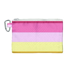 Red Orange Yellow Pink Sunny Color Combo Striped Pattern Stripes Canvas Cosmetic Bag (medium) by yoursparklingshop