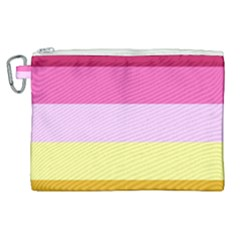 Red Orange Yellow Pink Sunny Color Combo Striped Pattern Stripes Canvas Cosmetic Bag (xl)