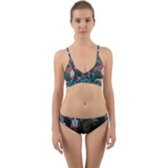 Floral Pattern Wrap Around Bikini Set by goodart