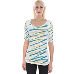 Twist Yellow Dark Green Wide Neckline Tee by goodart