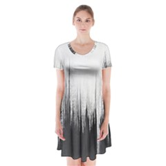 Simple Abstract Art Short Sleeve V Neck Flare Dress