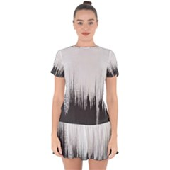 Simple Abstract Art Drop Hem Mini Chiffon Dress by goodart