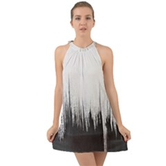 Simple Abstract Art Halter Tie Back Chiffon Dress