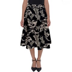 Floral Pattern Black Perfect Length Midi Skirt by goodart