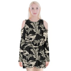 Floral Pattern Black Velvet Long Sleeve Shoulder Cutout Dress by goodart