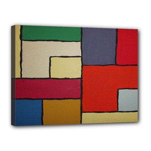 Color Block Art Painting Canvas 16  X 12  by goodart