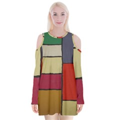 Color Block Art Painting Velvet Long Sleeve Shoulder Cutout Dress by goodart