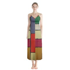 Color Block Art Painting Button Up Chiffon Maxi Dress by goodart