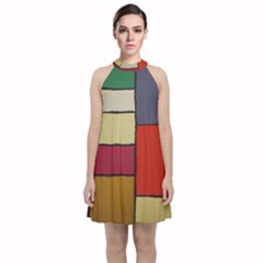 Color Block Art Painting Velvet Halter Neckline Dress  by goodart