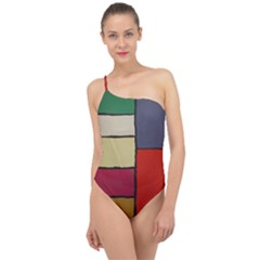 Color Block Art Painting Classic One Shoulder Swimsuit by goodart