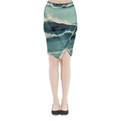 Waves Painting Midi Wrap Pencil Skirt by goodart