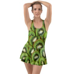 Sliced And Open Kiwi Fruit Ruffle Top Dress Swimsuit