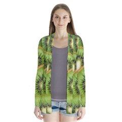 Sliced And Open Kiwi Fruit Drape Collar Cardigan