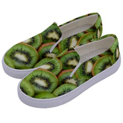 Sliced And Open Kiwi Fruit Kids  Canvas Slip Ons by goodart
