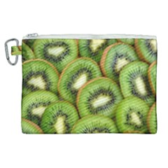 Sliced And Open Kiwi Fruit Canvas Cosmetic Bag (xl)