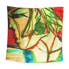 Girl In A Blue Tank Top Square Tapestry (large) by bestdesignintheworld