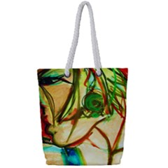 Girl In A Blue Tank Top Full Print Rope Handle Tote (small) by bestdesignintheworld
