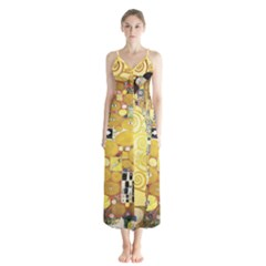 The Embrace   Gustav Klimt Button Up Chiffon Maxi Dress by Valentinaart