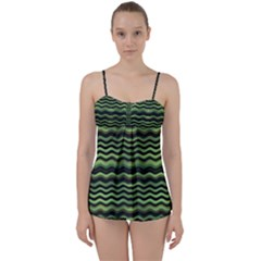 Modern Wavy Stripes Pattern Babydoll Tankini Set by dflcprints
