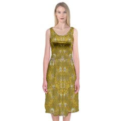 Golden Stars In Modern Renaissance Style Midi Sleeveless Dress by pepitasart