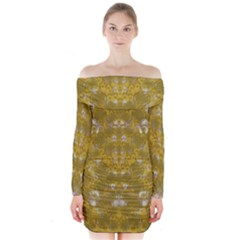 Golden Stars In Modern Renaissance Style Long Sleeve Off Shoulder Dress