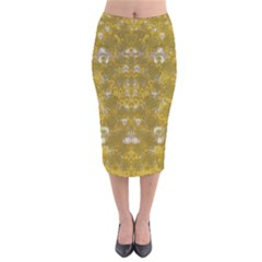 Golden Stars In Modern Renaissance Style Velvet Midi Pencil Skirt