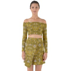 Golden Stars In Modern Renaissance Style Off Shoulder Top With Skirt Set by pepitasart