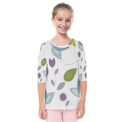Leaves Flowers Abstract Kids  Quarter Sleeve Raglan Tee by goodart