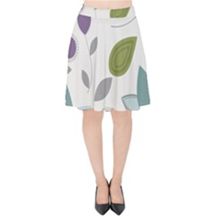 Leaves Flowers Abstract Velvet High Waist Skirt by goodart