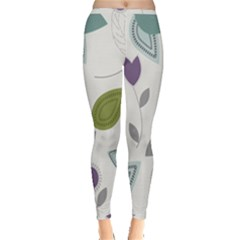 Leaves Flowers Abstract Inside Out Leggings