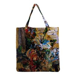 Flowers And Mirror Grocery Tote Bag by bestdesignintheworld