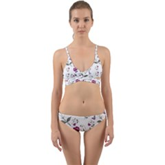 Floral Wallpaper Pattern Seamless Wrap Around Bikini Set by goodart