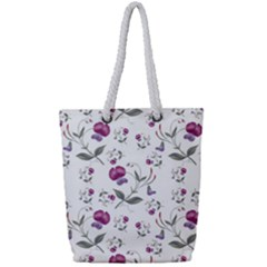 Floral Wallpaper Pattern Seamless Full Print Rope Handle Tote (small)
