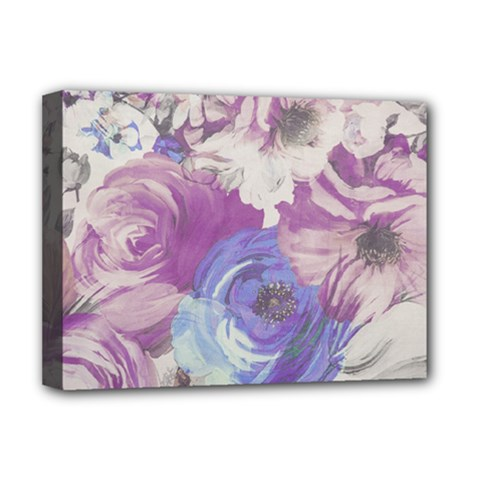 Floral Vintage Wallpaper Pattern Pink White Blue Deluxe Canvas 16  X 12   by goodart