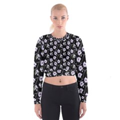 Floral Pattern Black Purple Cropped Sweatshirt by goodart