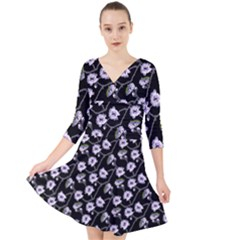 Floral Pattern Black Purple Quarter Sleeve Front Wrap Dress by goodart