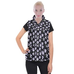 Floral Pattern Black Purple Women s Button Up Vest by goodart