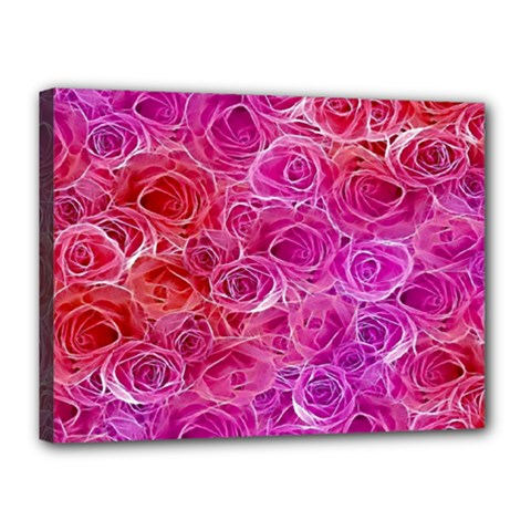 Floral Pattern Pink Flowers Canvas 16  X 12  by goodart